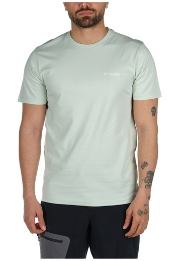Columbia Columbia Erkek Yeşil Bisiklet Yaka T-Shirt Yeşil